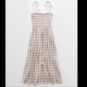 Aerie Smocked Self-tie Gingham Dress with pockets!